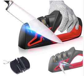 Afilador de cuchillos + mini afilador de cuchillos profesional 4 en 1.