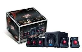 PARLANTES GAMER MARCA GENIUS SWG 5.1/3500 POTENCIA DE 80 WATTS RMS PARA PC/TV CON CONTROL REMOTO