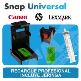 Snap para recarga profesional de cartuchos HP Lexmark y Canon o para purgar Sistemas Continuos