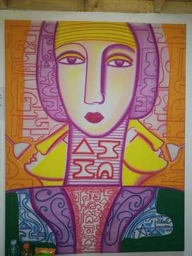Pintura del gran Abiezer Agudelo con certificado original en galería chia