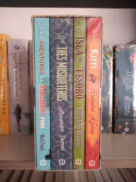 Clásicos de aventuras box set libros tres mosqueteros. La isla del tesoro. Huckleberry