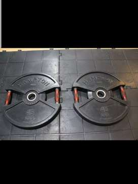 Barra olimpica para pesas de 1.50 mt con discos de 45 libras
