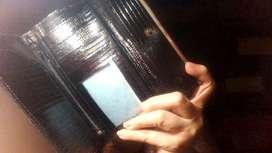 Porta billetes y tarjetas de credito billetera en cuero de vaca Negro Nuevo