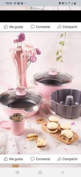 Olla 24cm rosa más sartén 24cm más savarin más mate rosa más utensilios