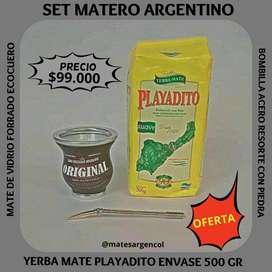 """OFERTA ! SET MATERO ARGENTINO! MATE DE VIDRIO con BOMBILLA y YERBA MATE """" PLAYADITO"""" DE 500 GRAMOS !"""