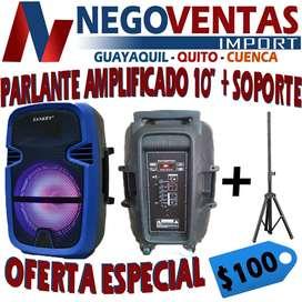 PARLANTE AMPLIFICADO DE 10 PULGADAS + SOPORTE