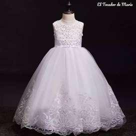 Vestido Blanco Largo 3 Moños