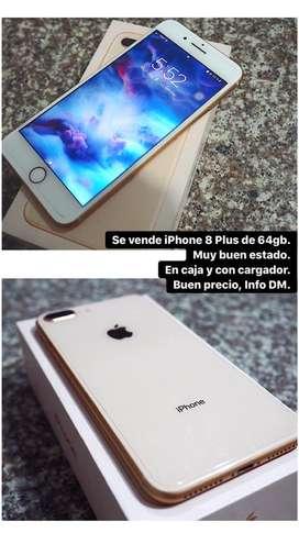 Se vende iPhone 8 plus de 64 gb. En muy buen estado. Precio negociable!