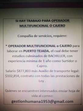 Si Hay trabajo en Puerto Tejada para CAJEROS y SURTIDORES