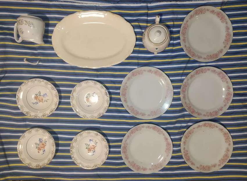 Vajilla antigua lote platos fuente tetera