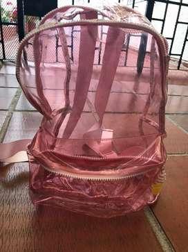 Maletin rosado transparente niñas, excelente estado