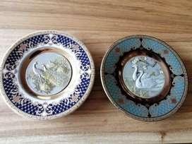 Chokin Arte Japonés con Plata y Oro en Platos de Porcelana