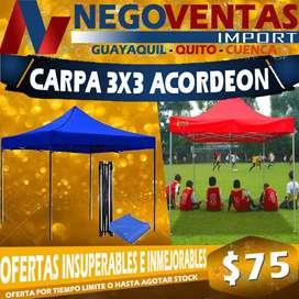 CARPA ACORDION METALICA REFORZADA 3 X 3 LONA IMPERMEABLE