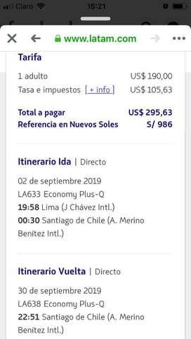 Vendo Pasaje a Chile Santiago