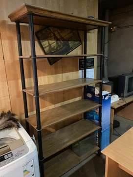 Estanteria biblioteca de hierro y madera