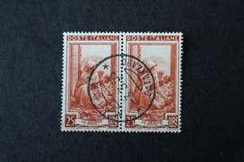 BLOCK 2 ESTAMPILLAS ITALIA, 1950, OCUPACIONES PROVINCIALES COSECHADORA DE NARANJAS, USADAS