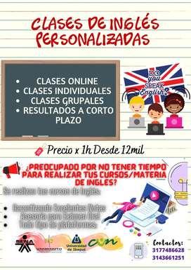 Clases de inglés personalizadas y realización de cursos
