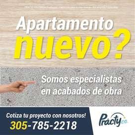 ACABADOS DE OBRA PINTURA ESTUCO PAREDES TECHOS EN DRYWALL ENCHAPE BAÑOS INSTALACION DE PISOS  PRACTY-COL BARRANQUILLA