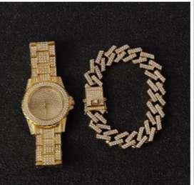 Reloj Hip Hop Pulsera Cubana Miami