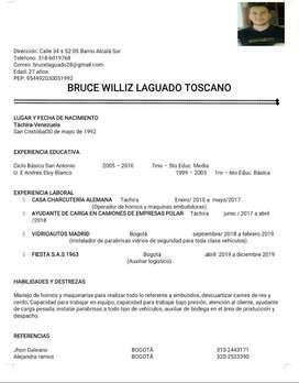 Busco trabajo en el área de logística Cargue y Descargue de mercancia