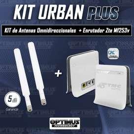 Modem De Internet Enrutador ZTE MF253V 4GLTE Homologado + Kit de antenas Omnidireccional Externas