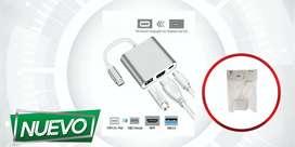 CABLE ADAPTADOR USB TIPO C 3.1 A HDMI USB MACBOOK THUNDERBOLT ¡DOMICILIO GRATIS BAJO COSTO!