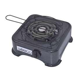 Estufa Eléctrica 1 Puesto, Acero Esmaltado Negro Sueco