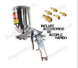 Pistola Para Pintar Con Compresor De 600cc Mas Accesorios De Acople