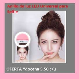 Anillo de luz para Selfie con carga USB, iluminación fotográfica, anillo de luz para fotografía,  ARO SELFIE RING docena