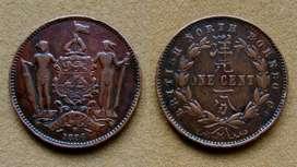 Moneda de 1 cent de Borneo del Norte 1886