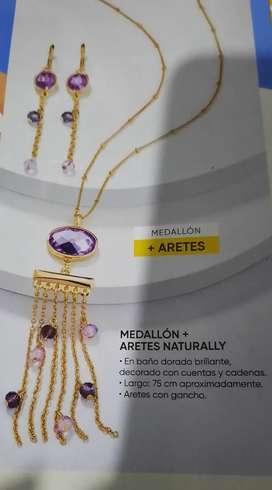 Aretes mas medallon