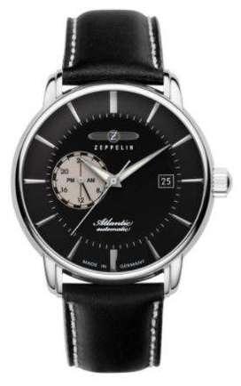 Reloj Zeppelin Atlantic 84702 - Dial color negro con números e índices plateados