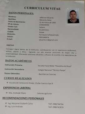 Busco Trabajo Sea para Camaronera. ,etc...