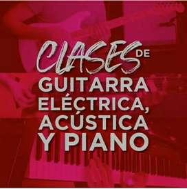 Clases Personalizadas de guitarra Acústica, Guitarra  Eléctrica y Piano