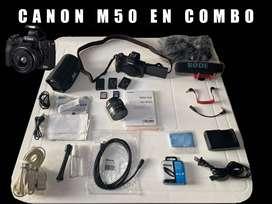 Canon M50 En Combo En Perfecto Estado.