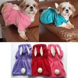 Vestidos polares con diseño de conejo para perros / ropa para perros