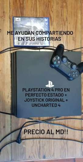 PLAY 4 USADA PERFECTO ESTADO + CONTROL ORIGINAL + UNCHARTED 4