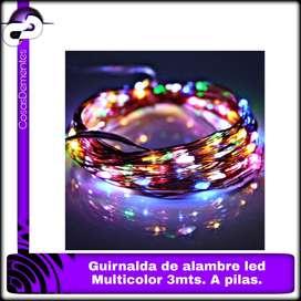 GUIRNALDA DE ALAMBRE LED MULTICOLOR 3MTS A PILAS.