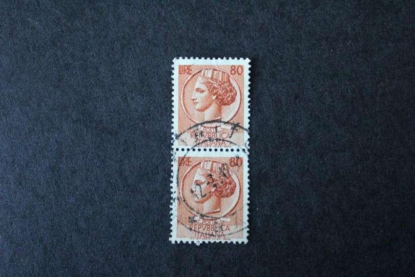 BLOCK 2 ESTAMPILLAS ITALIA, 1955, MONEDA DE SIRACUSSA, USADAS 0