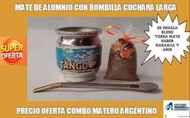 SUPER PROMO MATERA! MATE DE ALUMINIO ARGENTINO con BOMBILLA CUCHARITA LARGA CURVA con BLEND SABOR NARANJA y ANIS!