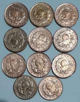 Vendo lote de 11 monedas de 1 centavo de Colombia