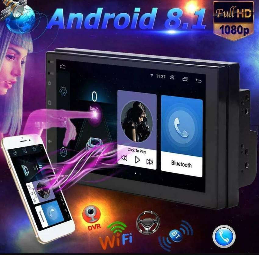 Radio Android Gps Doble Din pantalla 7'' Full Touch Bluetooth 0