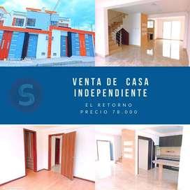 Venta de casa independiente de 127m2 en el Retorno, Ibarra, Imbabura