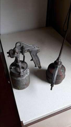 """Pistola para pintar """"Cane 100"""" origen argentina, + soplete limpia piezas y motores m/b."""