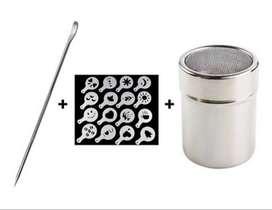 Plantilla cafe Barista, tarro de arte para cafe, aguja de acero inoxidable Premium