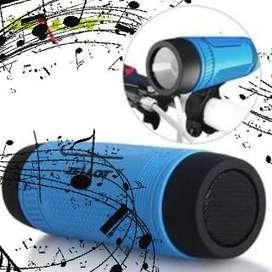 Parlante Bluetooth Linterna Bicicleta Soporte Sd Powerbank