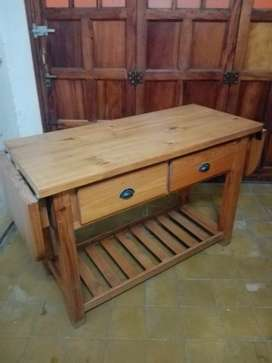 Mesa de madera auxiliar cocina comedor, extensible con cajones y estantes.
