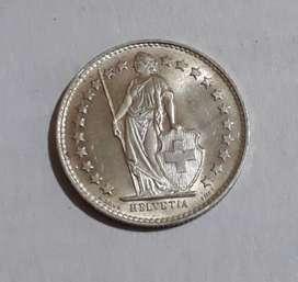 Moneda suiza de plata, medio franco de 1950
