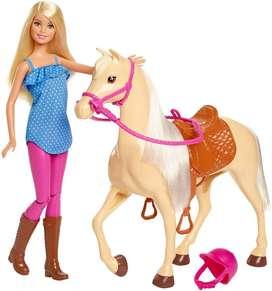 Muñeca Barbie Equitación Con Su Caballo