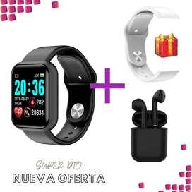 Oferta especial reloj Negro d28+ auriculares i12 + manilla de obsequio